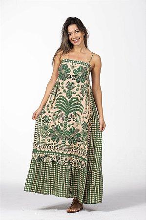 Vestido Cropped Longo Estampado Oasis de Verão Rosa Farm