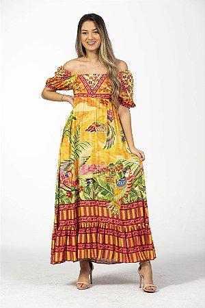 Vestido Longo Estampa Paraiso Das Araras Farm