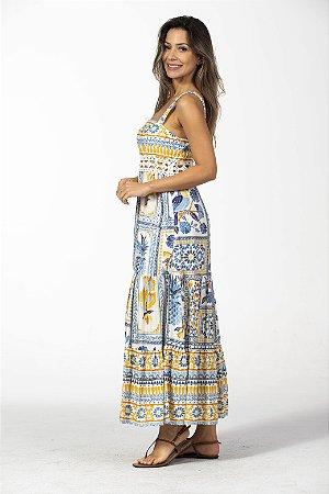 Vestido Longo Estampa Azulejo Tropical Farm