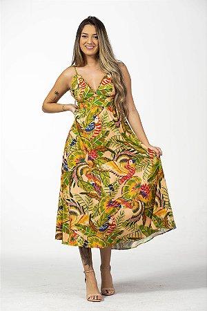 Vestido Midi Estampado Araras Arco Íris Farm