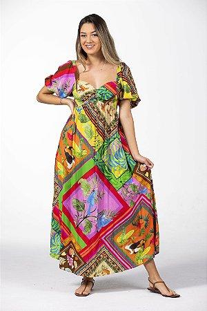 Vestido Cropped Estampado Lencinhos de Cor Multicolorido Farm