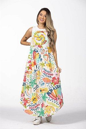 Vestido Cropped Estampado Silk Chuchu Beleza Farm