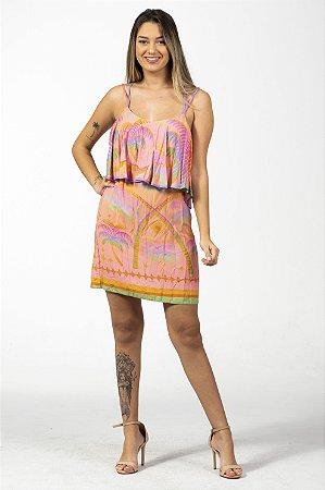 Vestido Curto com Babado Estampado Arco Íris Farm