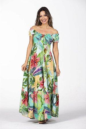 Vestido Cropped Estampado Floresta Tropicana Farm