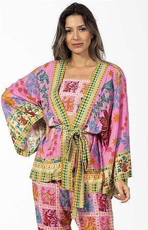 Kimono Estampado Pé de Abacaxi Rosa Farm