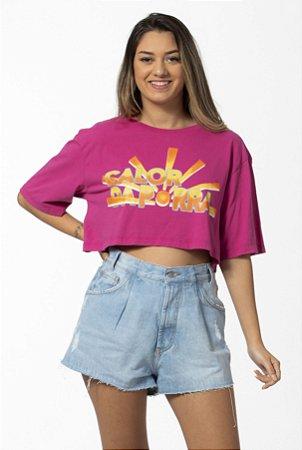 T-Shirt Cropped Estampada Calor Rosa Malva Farm