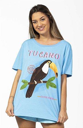 Blusa T-shirt Silk O Tuca Azul Farm