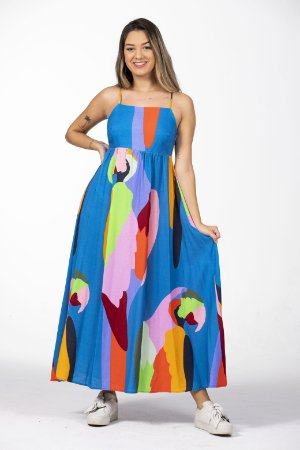 Vestido Midi Linho Estampado Araraquara Farm