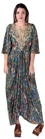 Vestido longo feminino FARM estampa roda baiana