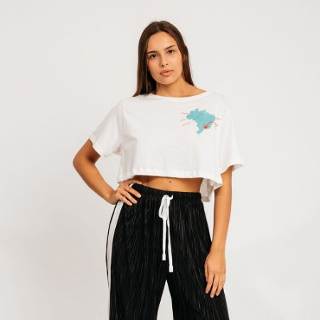 BLUSA T-SHIRT AMOR TUMTUM OFF WHITE FARM