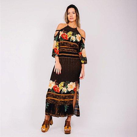 Vestido Longo Frescor De Abacaxi Preto Farm