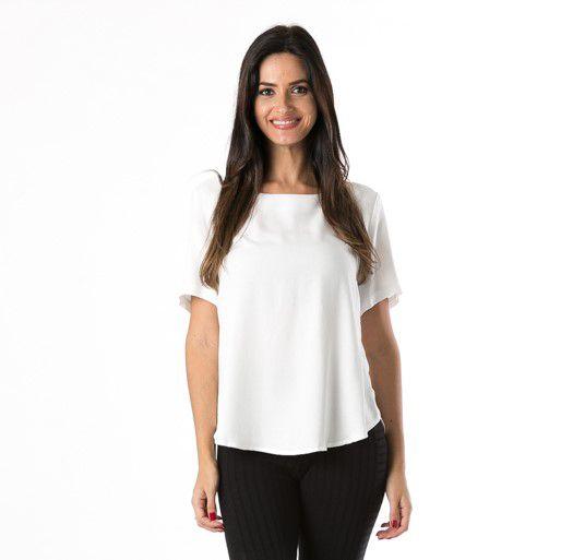 T-shirt Decote V Costas Off White Farm