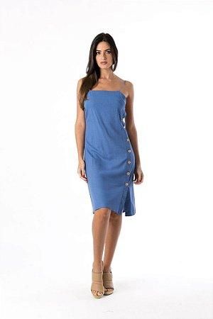 Vestido Cropped Botoes Lateral Azul Farm