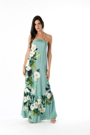 Vestido Longo Floral Tintado Azul Farm