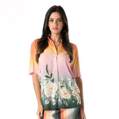 Camisa Sol de Flor Barrado Multicolorido Farm