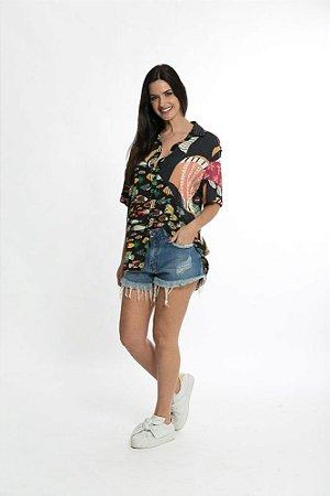 Camisa Uni Cardume Tropical Mini Preto Farm