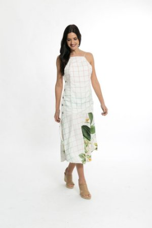 Vestido Cropped Flor Solar Off White Farm