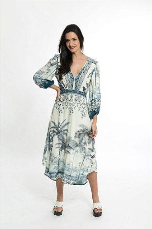 Vestido Cropped Estampado Coqueiral Farm