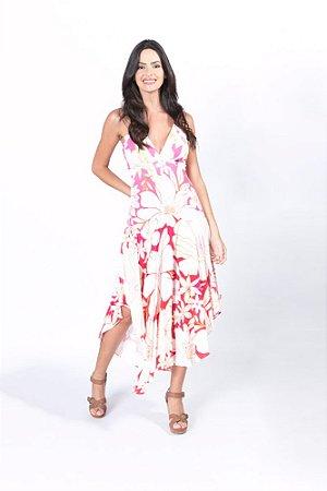 Vestido Midi Estampado Floral Line Farm
