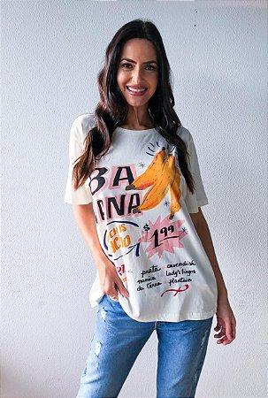 T-shirt Feminina Estampa Banana Off White Farm