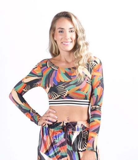 Top Cropped Manga Longa Estampado Tucano Farm