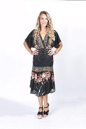 Vestido Longo Estampado Delicadeza de Flor Farm