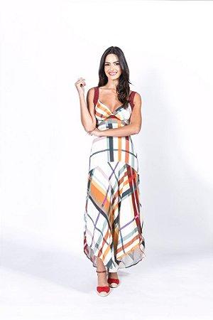 Vestido Midi Estampado Xadrez Farm