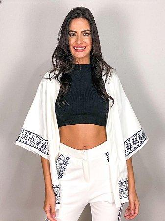 Kimono Moletom com Bordado Off White FYI
