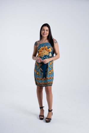 Vestido Curto Estampado Lazuli Lenço Farm
