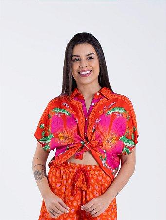 Camisa Cropped Estampada Lenço Floral Pietra Farm