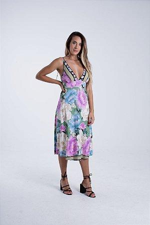 Vestido Midi com Amarração Estampado Liz Farm