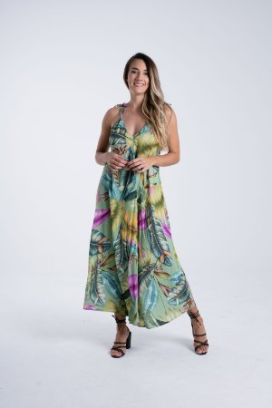 Vestido Midi Estampado Folhagem Paraíso Verde Farm