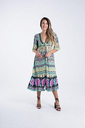Vestido Midi Estampado Flori Verde Farm