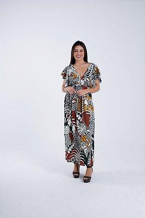 Vestido Cropped Estampado Beleza Gráfica Farm