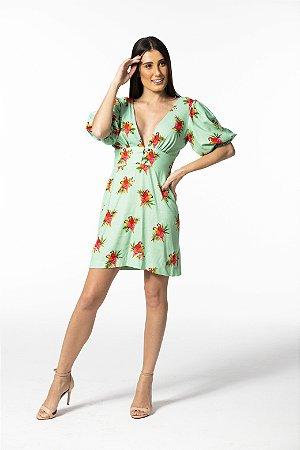 Vestido Curto Estampado Ararinhas Candy Collor Verde Farm