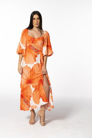 Vestido Midi Estampado Vestida de Flor Laranja Farm