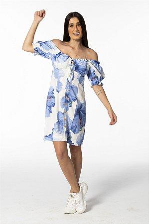 Vestido Curto Estampando Vestida de Flor Azul Farm