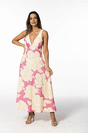 Vestido Cropped Estampado Floral Praiano