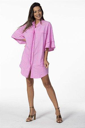 Vestido Camisa Alongada Linho Rosa Open