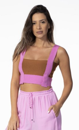 Top Cropped Alça Larga Tricot Open
