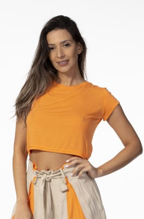 T-shirt Cropped com Elastano Laranja Open
