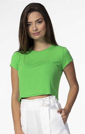 T-shirt Cropped com Elastano Verde Open