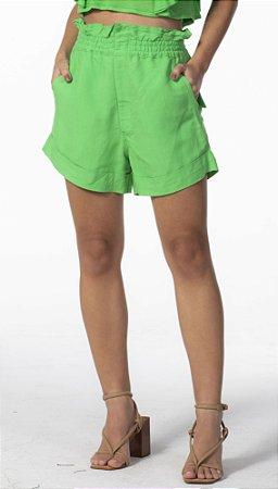 Short Linho com Elástico Verde Open