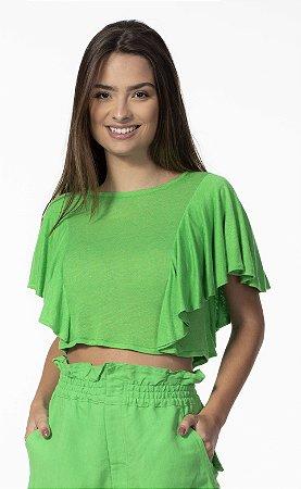 Blusa T-shirt com Babados Linho Verde Open