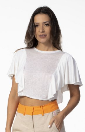 Blusa T-shirt com Babados Linho Off White Open