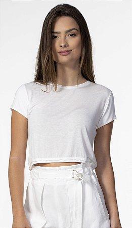 T-shirt Cropped com Elastano Branco Open