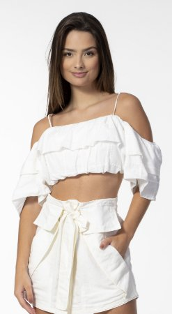 Top Cropped Laise Ombro a Ombro Off White Open