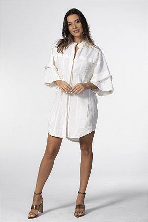 Vestido Camisa Alongada Linho Off White Open
