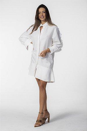 Vestido Curto Camisa Linho Off White Open
