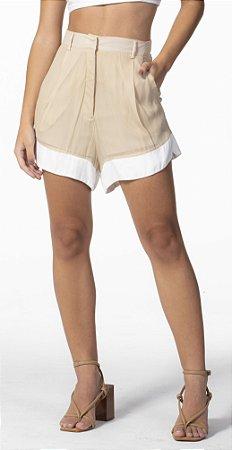 Shorts Soltinho Duas Cores Bege Loam com Off White Open